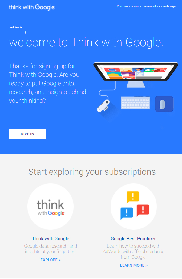 Google Welcome Email